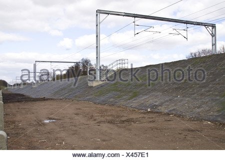 Railway embankment with mat netting used controle - Stock Photo