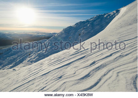 Patterns formed by the wind in snow, Beinn Respiol, Ardnamurchan peninsula; Highlands, Scotland - Stock Photo