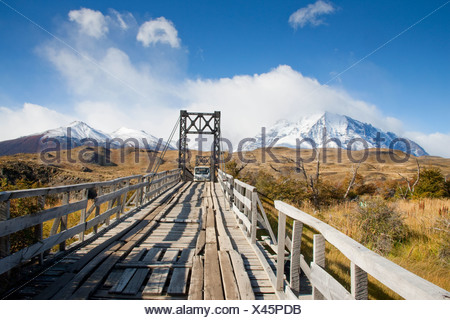 Entry Bridge to the Los Torres Area of Torres del Paine National Park, Patagonia, Chile - Stock Photo