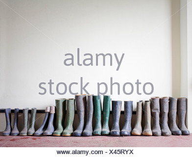 Rubber boots in a row - Stock Photo
