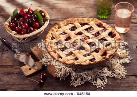Cherry pie with lattice crust. - Stock Photo