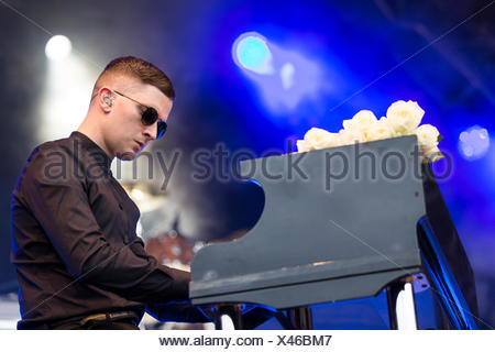 Pianist Adam Anderson from the British synth-pop band Hurts performing live at Heitere Open Air in Zofingen, Aargau, Switzerland - Stock Photo
