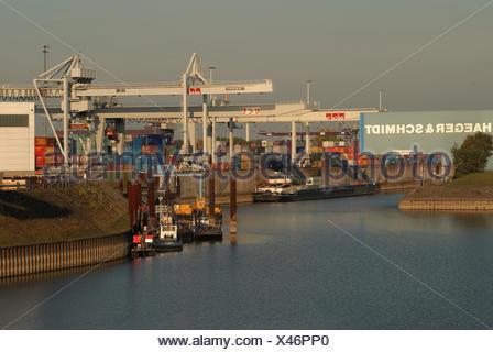 harbour of Duisburg - Stock Photo