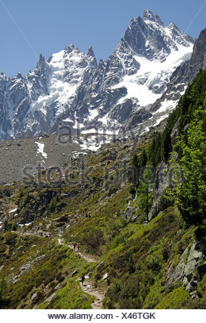 Hiking trail on the Mont Blanc Massif in Chamonix-Mont-Blanc, France, Europe - Stock Photo