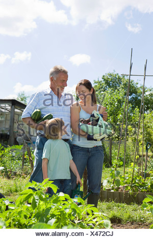 Family with boy holding vegetables in garden - Stock Photo