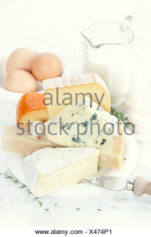 Cheese, fresh brown eggs and milk on a white linen - Stock Photo