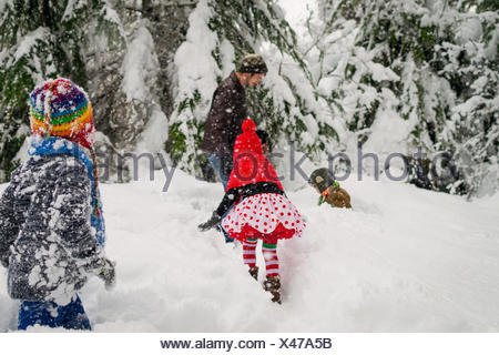 Father, three children and a dog playing in the snow - Stock Photo