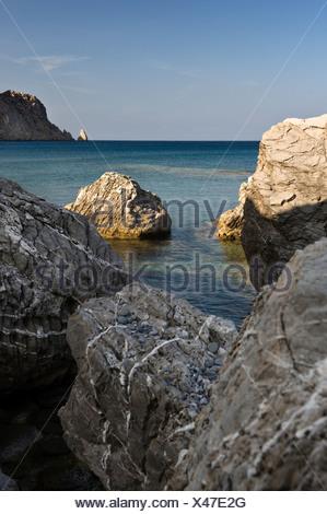 Rocks on the east coast at Spoa, Karpathos island, Aegean Islands, Aegean Sea, Dodecanese, Greece, Europe - Stock Photo