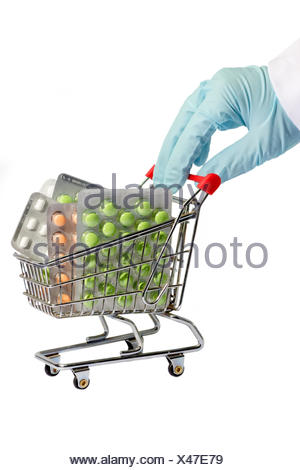 hand pills drugs trolley cart means agent medicine drug remedy substance - Stock Photo