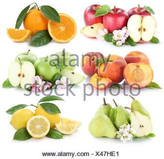 fruit apple orange lemon peach apples oranges fruit collage isolated cutout cutouts cut - Stock Photo