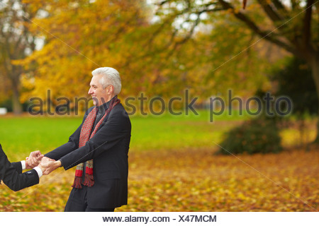 Movement in the autumn woods - Stock Photo