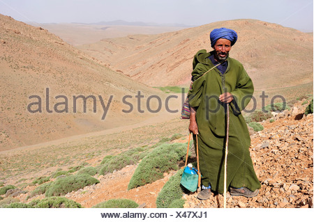 Goat shepherd, elderly man wearing a Djellaba and a turban, holding a water bottle, High Atlas Mountains, Morocco, Africa - Stock Photo