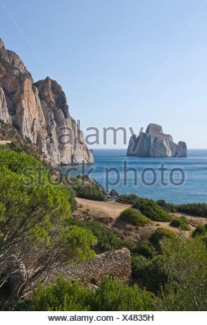 Pan di Zucchero and cliffs near Masua, Sardinia, Italy, Europe - Stock Photo