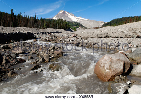 White River Gorge with Mount Hood volcano, Cascade Range, Oregon, USA - Stock Photo