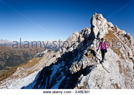 Hiker on Bepi Zac climbing route in the San Pellegrino Valley above the San Pellegrino Pass, with the Dolomites at the rear - Stock Photo