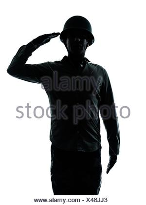 one caucasian army soldier man army soldier man saluting on studio isolated on white background - Stock Photo