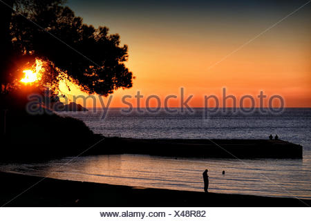 Silhouette Man Standing On Beach - Stock Photo