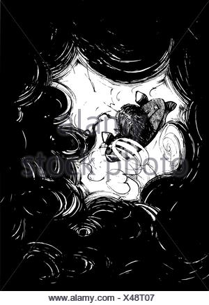 Smoker in black smoke - Stock Photo