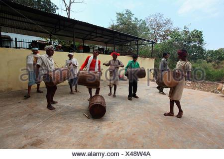 Praja Dance, Bison Horn Maria Tribe, Dantewada, Chattisgarh, India - Stock Photo