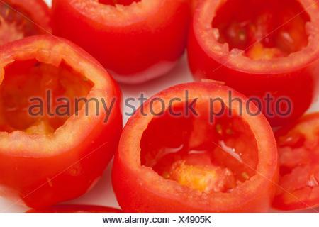 Stuffed tomatoes preparation : Emptied tomatoes - Stock Photo