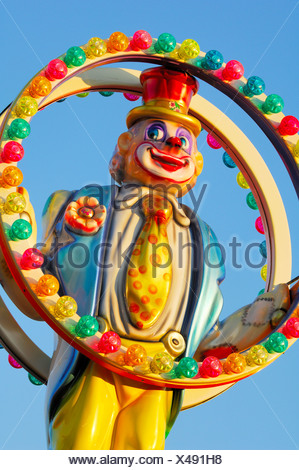 Clown figure at a carousel, fair, Stuttgart, Baden-Wuerttemberg, Germany, Europe - Stock Photo