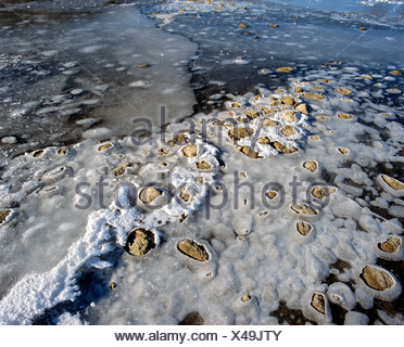 Ice on a lake shore - Stock Photo