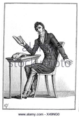 Zacharias Werner (1768-1823), poet, dramatist, steel engraving, before 1880 - Stock Photo