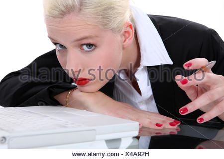 laptop, notebook, computers, computer, secretary, bracelet, duty, quiet, shirt, - Stock Photo
