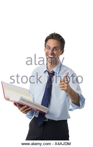 Businessman with folder in hand - Stock Photo