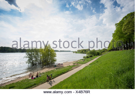 Rhine River shore of Schloss Benrath Palace, Benrath, Düsseldorf, Rhineland, North Rhine-Westphalia, Germany - Stock Photo