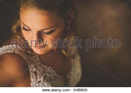 USA, Florida, Bay County, Bayou George, Portrait of bride - Stock Photo