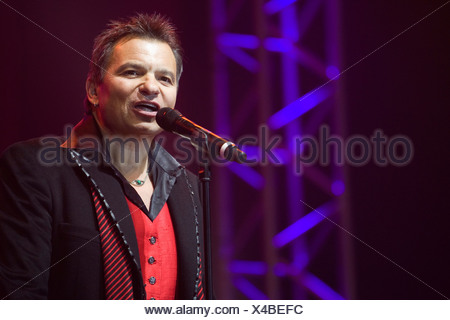 Markus Wolfahrt, singer and frontman of the Austrian folk group 'Die Klostertaler', live at the '9. Schlager Nacht' concert in - Stock Photo