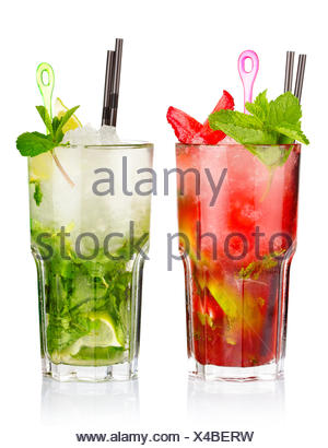 Two mojito cocktails with strawberry and lime fruits isolated - Stock Photo