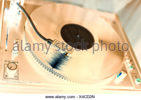 vinyl, player, placed, and, of, from, disco, macro, close-up, macro admission, - Stock Photo