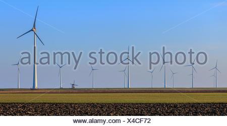 Rows of wind turbines, Eemshaven, Groningen, Netherlands - Stock Photo