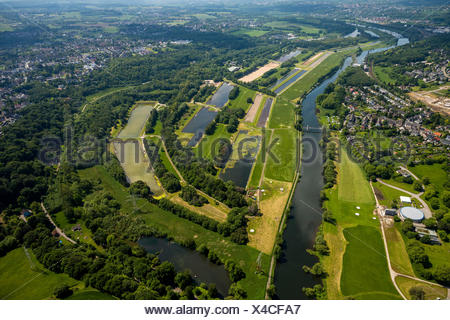 Water recovery plant, aerial view, near Burgaltendorf, Essen, Ruhr Valley, North Rhine-Westphalia, Germany - Stock Photo