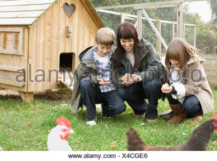 Mother and children feeding chickens - Stock Photo