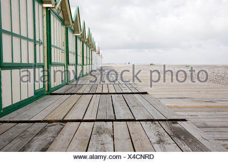 France, Baie de Somme, Cayeux, beach huts, 08/20/08. - Stock Photo