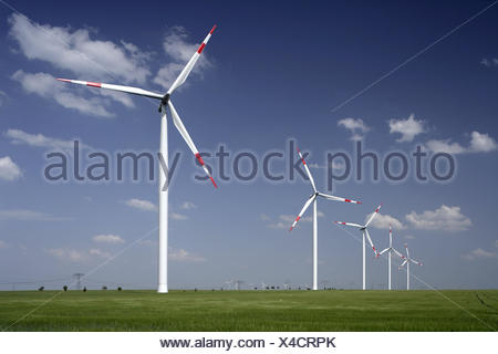 Germany, Saxony-Anhalt, Weissenfels, wind park, scenery, wind power station, wind park, turbines, power production, wind power energy, alternative energy, wind power, wind power, environmentally friendly, energy, economy, ecologically, ecological current, summer, climate protection, heaven, clouds, - Stock Photo