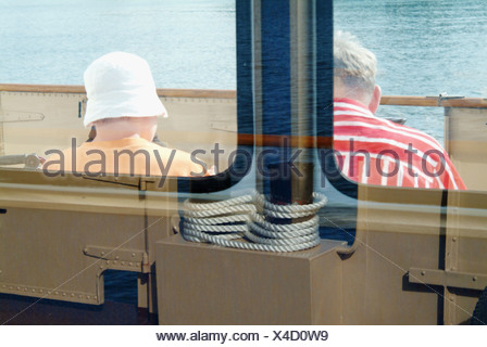 Ferry (Weisse Flotte) on Chiemsee. Chiemgau. Bavaria. Germany - Stock Photo
