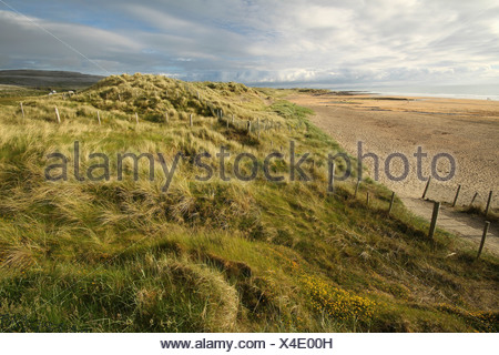 fanore beach in the burren area in munster region; county clare, ireland - Stock Photo