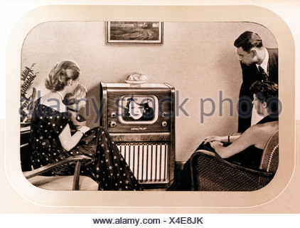 broadcast, television, Telefunken television set FE 8 S, one of the first German postwar receiver, family in front of the television set, out of the instruction manual, Germany, 1951, Additional-Rights-Clearences-NA - Stock Photo