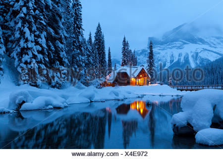 Emerald Lake Lodge in Winter, Yoho National Park, British Columbia, Canada - Stock Photo