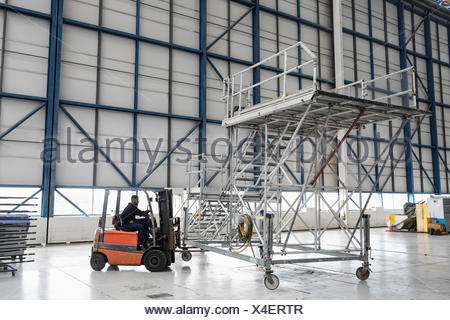 Aircraft maintenance engineer driving forklift truck at airlines maintenance facility