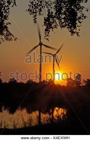 wind engines at sunset, Germany, North Rhine-Westphalia, Stukenbrock-Senne - Stock Photo