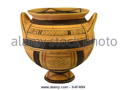 An Ancient Greek Vase From The Geometric Period Isolation Against A