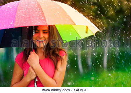 Beautiful woman under rainbow umbrella Debica, Poland