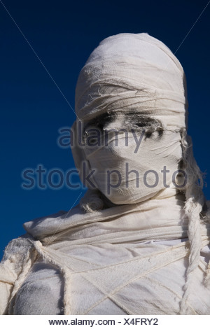 Close-up of a Mummy draped in white cloth bandages. Montreal Botanical Garden, Quebec, Canada - Stock Photo