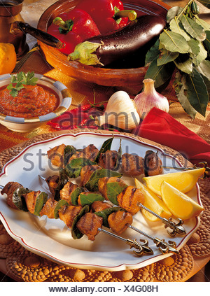 Lamb kebabs with eggplant puree, Iran, recipe available for a fee - Stock Photo