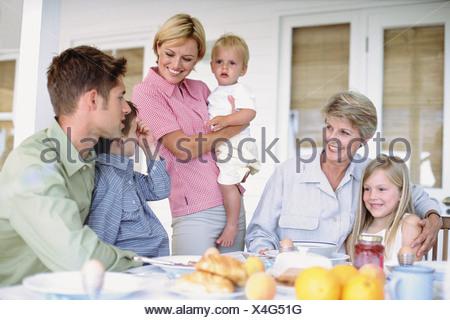 Family having breakfast - Stock Photo